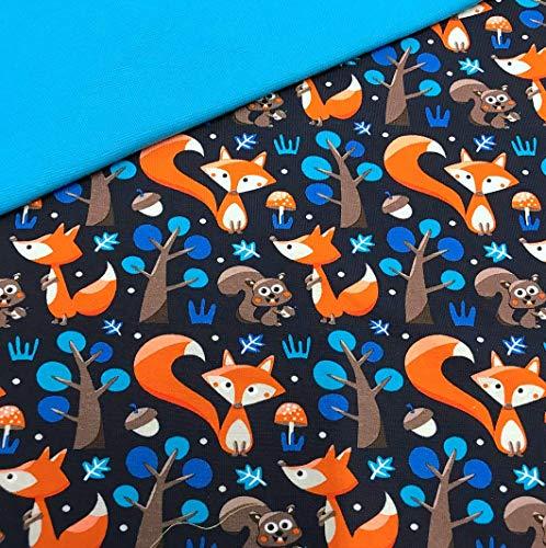 0,5x1,4m Jersey Füchse dunkelblau & 0,5x0,7m Bündchen Uni türkis Breite 70cm (Schlauchware 2x35cm) Muster-Mix 95% Baumwolle 5% Elastan