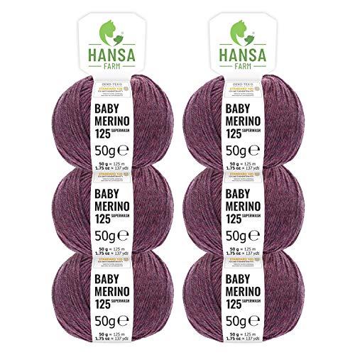 100% Merinowolle extrafine superwash in 35+ Farben (kratzfrei) - 300g Set (6 x 50g) - Baby Merino Wolle zum Stricken & Häkeln in 4 Garnstärken - Hansa-Farm - Beere Heather (Rot-Lila)