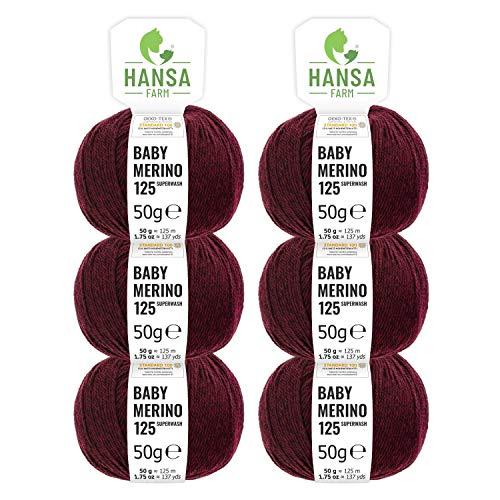 100% Merinowolle extrafine superwash in 35+ Farben (kratzfrei) - 300g Set (6 x 50g) - Baby Merino Wolle zum Stricken & Häkeln in 4 Garnstärken - Hansa-Farm - Weinrot Heather (Dunkel-Rot)