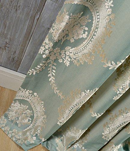 adaada 2er-Set vorhänge Europäische Jacquard vorhänge für Wohnzimmer (Grün, 230 * 140cm)