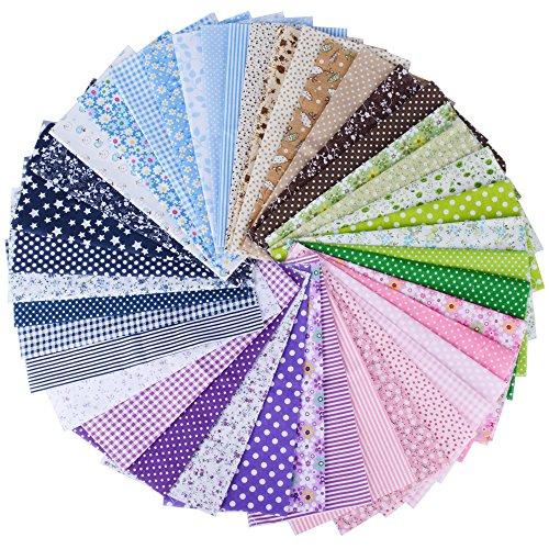 AONER (100% Baumwolle) 42 Stück 6 Farbsystem Patchwork Stoffe 25 x 25 cm Bunte Baumwollstoff Set Stoffpaket DIY Baumwolltuch Stoffreste Paket Stoffpakete