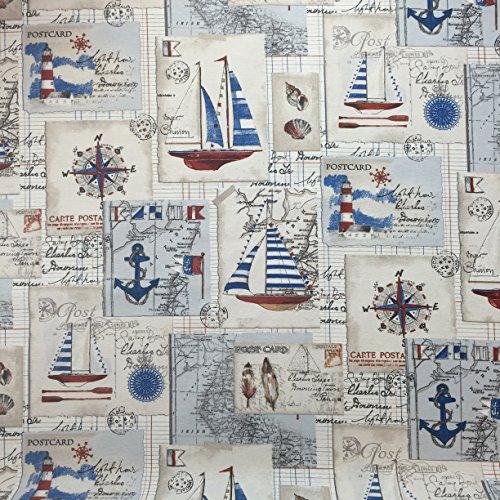 Atemberaubende Panama Designer Vintage Baumwolle Linien Aussehen Stoff in Nautisch Design Bedruckt Für Vorhänge Jalousien und zartes Polster, Breite 137.2cm - Meterware