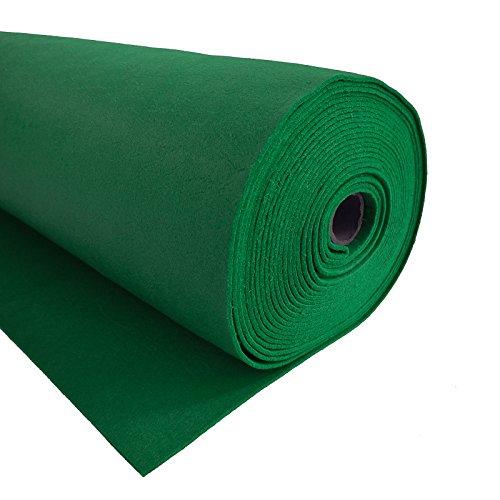 Bastelfilz 1m Meterware Filz 90cm x 3mm Dekofilz Taschenfilz Filzstoff 39 Farben, Farbe:grün