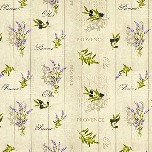 Baumwollstoff Cretonne Lavendel und Oliven – natur — Meterware ab 0,5m — zum Nähen von Vorhänge, Tischläufer und Tischdekoration