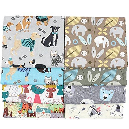 Baumwollstoffe, bedruckt mit Tiermotiven, 40 x 50 cm, 8 Stück, für Patchwork und zum Quilten und Nähen