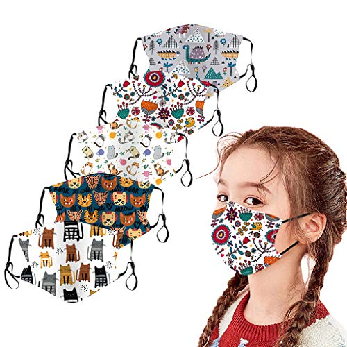 BOMING 5PC Kider Outdoor BaumwollmundMundschutzn Gesichtsschutz Wiederverwendbar mit 4-teiliger Mundschutz Lanyard Ear Holder Rope