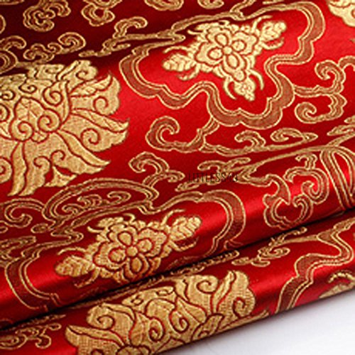 Brokatstoff mit Chinesischer Blumen-Stickerei, Seidiger Satin-Stoff,Verkauft per Meter (Rot)