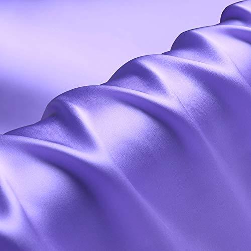 Charmeuse Stoff, 100 % reine Seide, einfarbig, vorgeschnitten, ca. 90 cm, zum Nähen von Kleidung, Breite 111,8 cm, Hellviolett