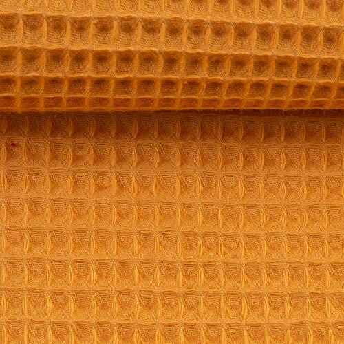 Die Stofftante Waffelpique Nelson senf 50 cm x 152 cm Meterware