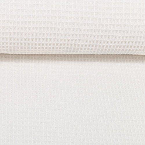 Die Stofftante Waffelpique Nelson weiß / 0,5 m x 152 cm/Meterware