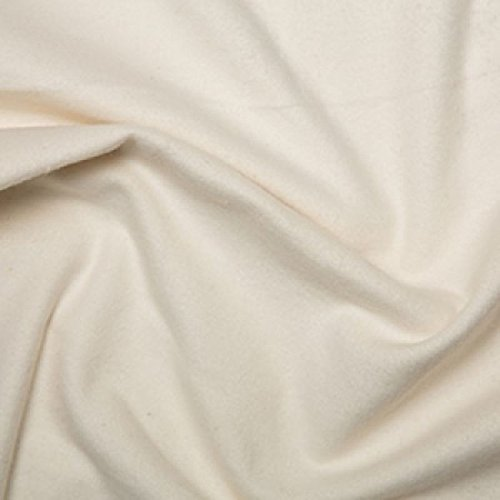 Discover Direct Baumwollflanell-Stoff, 100% gebürstete Baumwolle, ca. 110 cm breit, cremefarben - Meterware