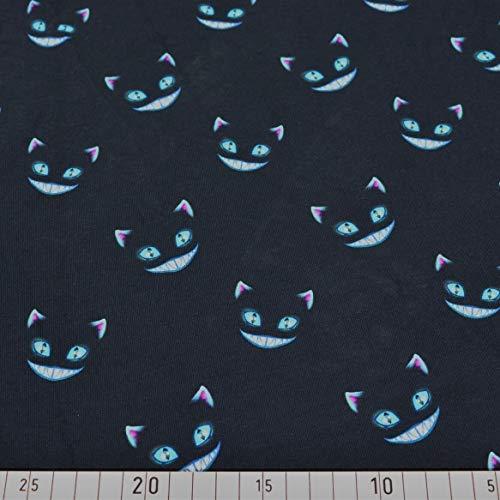 Doppelmoppel Stoffe zum Nähen - Jersey Stoff Grinsekatze Halloween blau | 18,40 EUR/m