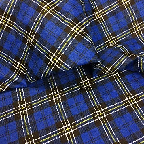 EDGE Flanell Baumwollstoff Stoff Karo 1lfm 150cm breit (Blau A2)