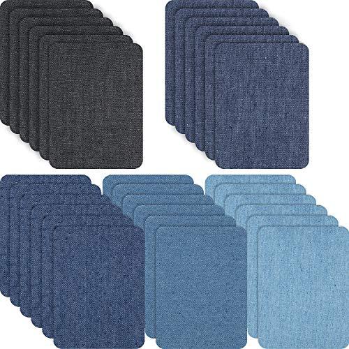 Eisen auf Patches Eisen auf Denim Flicken Reparatur Kit für Kleidung, Jeans, Jacken, Große Größe, 4,9 Zoll, Denim Stoff (Quadrat, 15 Stücke)