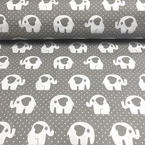 Erstklassiger Baumwollstoff 0,5lfm, 100% Baumwolle, modische Muster, Breite 160cm – graue Elefanten mit einem Herz