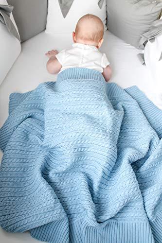 Eva&Naomi Wolldecke Babydecke gestrickt | 100% MerinoWolle | 75 x 100 cm | Strickdecke, Kuscheldecke, Einschalgdecke (Hellblau)