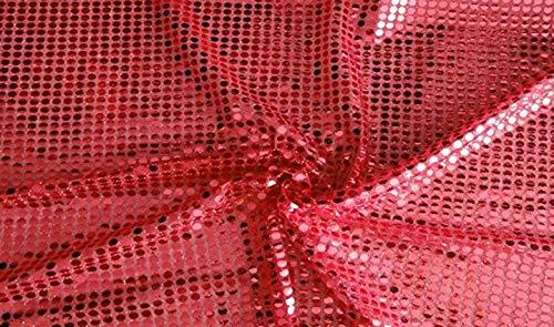 Fabrics-City HOCHWERTIG PAILETTEN STOFF PAILLETTENSTOFF 6MM STOFFE (ROT)