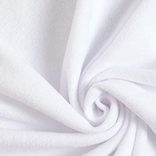 Fabulous Fabrics Fleece weiß, Uni, 150cm breit – Fleece zum Nähen von Jacken und Nachtwäschen – Meterware erhältlich ab 0,5 m