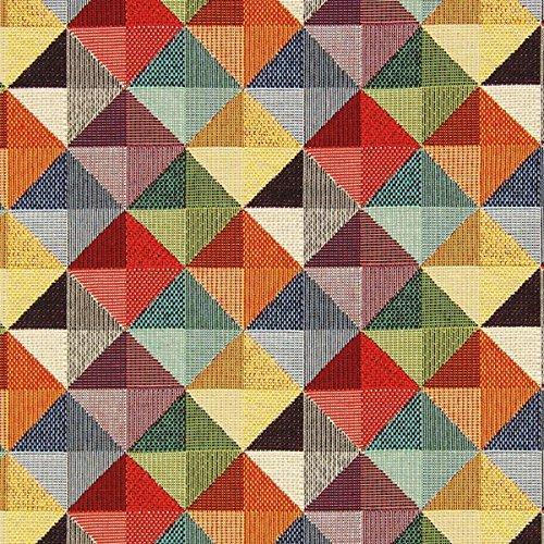 Fabulous Fabrics Gobelin Große Dreiecke — Meterware ab 0,5m — zum Nähen von Kissen, Tischdecken und Taschen