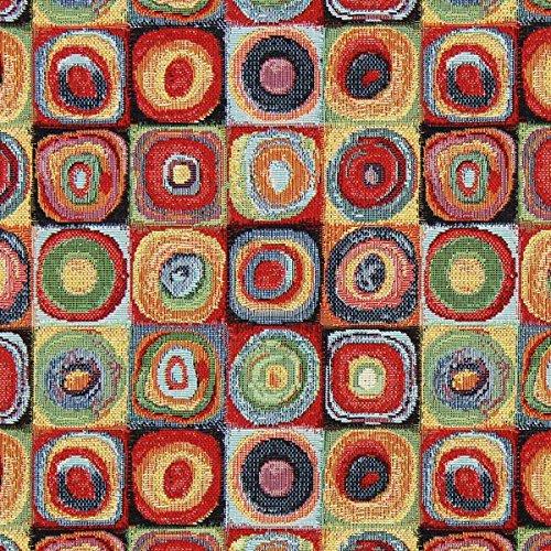 Fabulous Fabrics Jacquard Gobelin Kandinsky Kreise 2 — Meterware ab 0,5m — zum Nähen von Dekoration, Kissen und Tischdecken