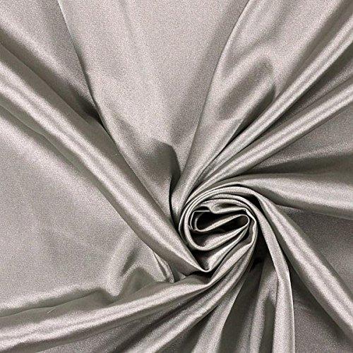 Fabulous Fabrics Satin silber, Uni, 141cm breit – Satin zum Nähen von Abendkleidung, Blusen und Tops – Meterware erhältlich ab 0,5 m