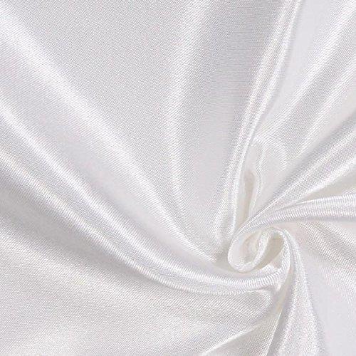 Fabulous Fabrics Satin weiß, Uni, 148cm breit – Satin zum Nähen von Kissen, Tischdecken und Bettwäsche – Meterware erhältlich ab 0,5 m