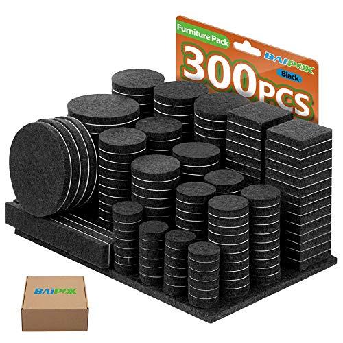 Filzgleiter Selbstklebend Set 300 Stück - Schwarz - Premium Möbelgleiter Filz Pads 5 mm Starke - Filz für Stühle Bodengleiter- Effektiver Schutz Ihrer Möbel & Holzfußböden(Eckig und Rund)