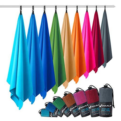 Fit-Flip Microfaser Handtuch – federleicht, Ultra saugstark und schnelltrocknend – (1x 100x50cm + 1x Tasche, Sand)