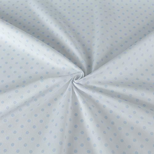 Generico Piqué-Stoff, Meterware, 100 % weiche Baumwolle, Höhe 150 cm, ideal für Kinder und Babys, 1 Menge = 50 cm, verschiedene Designs (hellblaue Punkte)
