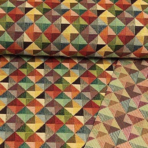 Gobelin Stoff Dreiecke im Quadrat bunt Dekorationen - Preis Gilt für 0,5 Meter -