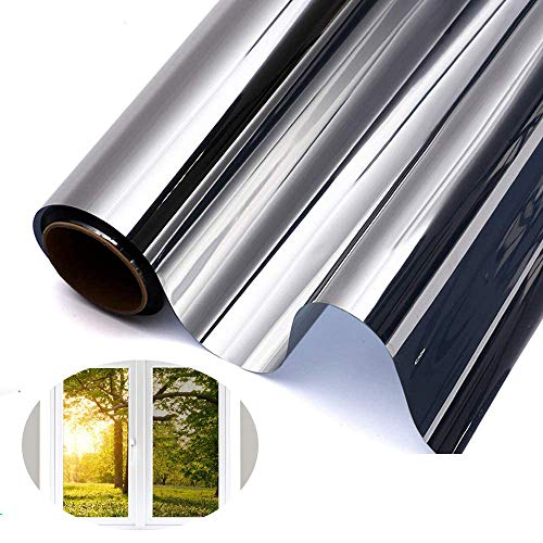 GodUp Spiegelfolie Sonnenschutzfolie Fensterfolien Fenster Selbstklebend Sichtschutzfolie 99%UV-Schutz innen für Büro und Haus Silber (Silber2, 40x400 cm)