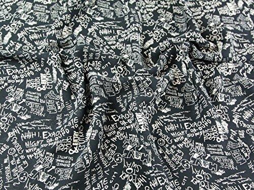 Graffiti Doodles Print Georgette-Kleid Stoff schwarz &, Meterware, cremefarben