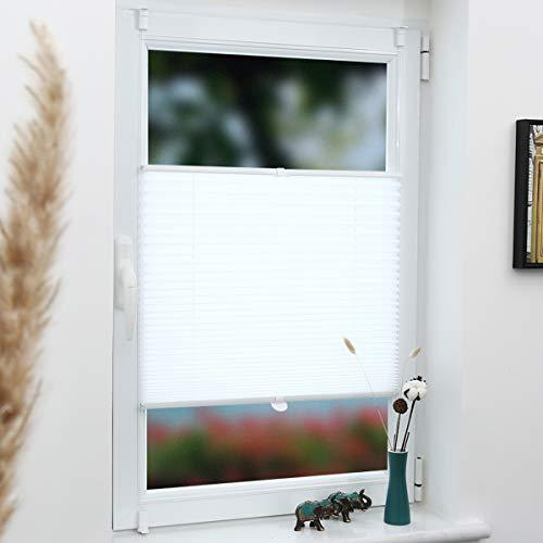 Grandekor Plissee Klemmfix Faltrollo ohne Bohren 55x120cm (BxH) Weiß, Kinderleichte Montage, Jalousie Plisseerollo Sichtschutz und Sonnenschutz für Fenster & Tür