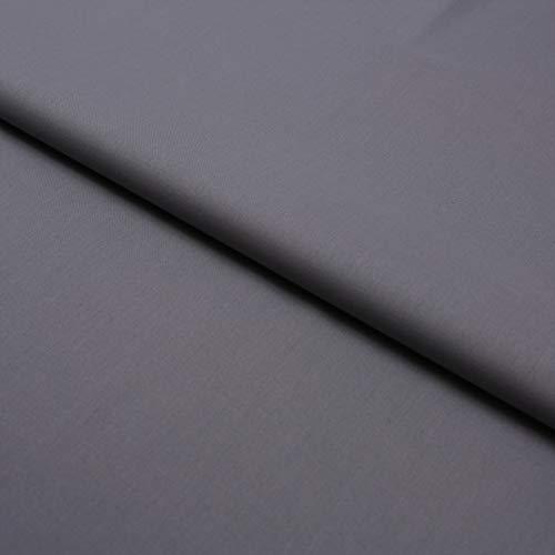 Hans-Textil-Shop Stoff Meterware Dunkelgrau Baumwolle Linon (Einfarbig, Uni, Schadstoffgeprüft, Pflegeleicht, ca 140 g/qm, ca. 145 cm breit, 1 Meter)