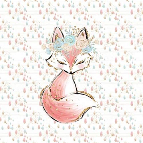 Herz Stoffe Österreich: 1 Sommersweat/French Terry – Boho Panel – 40x50cm – süßes Fuchs Mädchen mit Blumenkranz auf Regentropfen – beige Gold rosa Mint türkis – Einzelmotiv Digital Ökotex