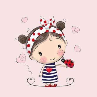 Herz Stoffe Österreich: 1 Sommersweat/French Terry Stoff Panel (40x50cm) Mädchen auf rosa Haarband Marienkäfer Herzen Einzelmotiv Ökotex