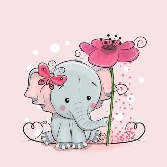 Herz Stoffe Österreich 1 Stoff Panel mit Elefant auf rosa | Ganzjahresweat - French Terry - Sommersweat | Kinderstoff für Mädchen | Digital | Ökotex