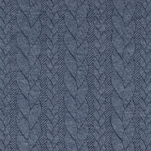 Jacquard Jersey Zopfstrick jeansblau Modestoffe Strickstoffe Winterstoffe - Preis gilt für 0,5 Meter