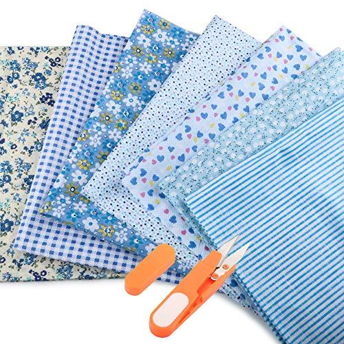 JTENG Baumwollstoff meterware Stoffpaket 7 Stück 50 x 80 cm, Nähstoffe Patchwork Stoffe 100% Baumwolle DIY Baumwolltuch, zum Nähen, Patchwork, vorgeschnittene Nähen, Scrapbooking