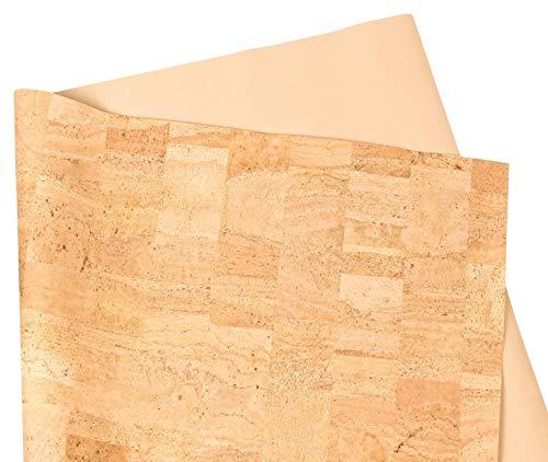 Korkstoff aus Korkrinde – 70 cm breit – Veganes Leder-Imitat – Kork-Oberfläche – samtig weicher Stoff – ideal für DIY zum Nähen – Taschen – Geldbörsen – Basteln und Dekorieren