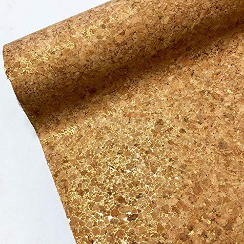 Kunstleder-Stoff aus natürlichem Kork, für Bastelarbeiten, Dekoration, Zubehör, Tasche, Material, 137 cm breit, Verkauf pro halber Meter, Leder, Goldfarbener Glanz, Per Half Metre