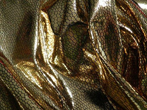 Lackstoff GOLD mit Schlangenmuster Meterware Latex