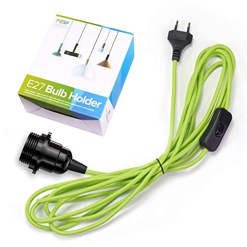 Lampenfassung E27 mit Kabel und Schalter, E27 Vintage Fassung mit 4,5 m Grünes Textilkabel, Pendelleuchte mit Stecker, für Stehlampen, Kronleuchter, PEBA