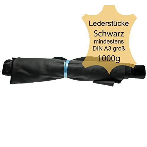 Langlauf Schuhbedarf ® Lederreste Lederstücke extragroß A3-1kg Varianten von schwarzen Farbtönen - alle Stücke Mind. DIN A3 groß