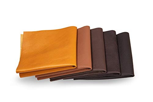 Lederstücke - Variierende Lederbündel in verschiedenen braunen Farbtönen, Leder Zuschnitt, Extra Große Stücke, Hochwertig zum Nähen, Lederverarbeitung, Basteln, Beziehen, Deko, 1Kg - min. DIN A3