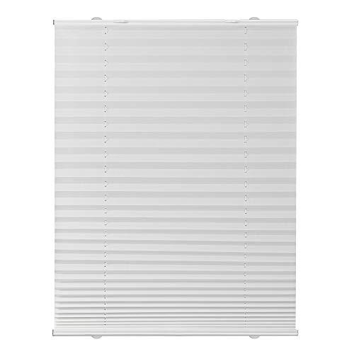 Lichtblick Plissee Haftfix, 55 x 130 cm (B x L) in Weiß, ohne Bohren, moderner Sicht-, Blend- und Sonnenschutz in Crush-Optik, lichtdurchlässig & Blickdicht
