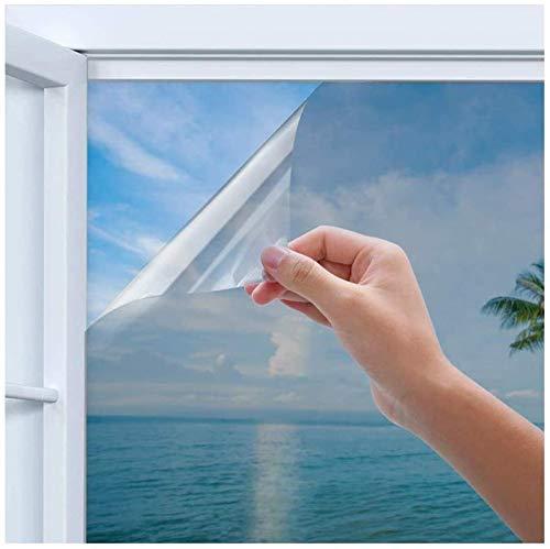 Linarun Spiegelfolie, Selbstklebend Fensterfolie, Sichtschutzfolie, Wärmeisolierung Sonnenschutzfolie UV-Schutz für Büro und Haus Silber 90 x 200 cm
