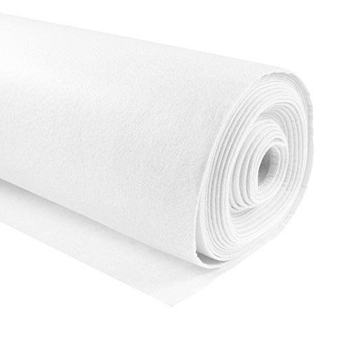 maDDma Bastelfilz 1m Meterware Filz 90cm x 3mm Dekofilz Taschenfilz Filzstoff 26 Farben, Farbe:weiß