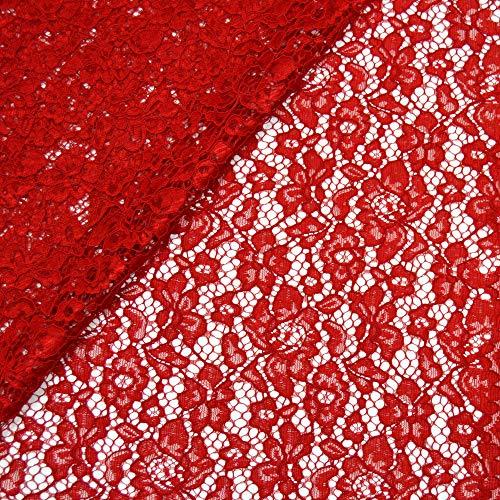 MAGAM-Stoffe Carmen Spitzenstoff Blumen-Spitze Bekleidung Deko Meterware 50cm (3. Rot)