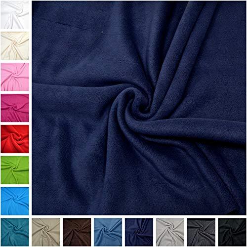 magam stoffe paula fleece stoff uni antipilling meterware 50cm 07 dunkelblau